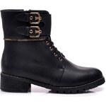 La Bella shoes Černé workery ve vojenském stylu, vel. 36