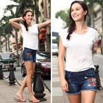 Lesara Damen-Jeans-Shorts mit Blumen-Stickerei - 27