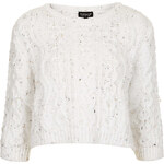 Topshop Knitted Cropped Cable Jumper