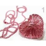 Stoklasa Náhrdelník s drátovaným srdcem (1 ks) - 1 růžová střední