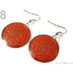 Náušnice kovové Ø29mm kruhové s ornamenty (1 pár) - 8 oranžová okrová Stoklasa