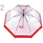 Dámský průhledný vystřelovací deštník (1 ks) - 2 červená Stoklasa