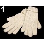 Rukavice dámské 8x24cm pletené s lurexem (1 pár) - 1 Vanilla Ice Stoklasa