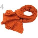 Šála 45x180cm pletená s flitry (1 ks) - 4 oranžová mrkvová Stoklasa