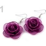 Náušnice kovové Ø30 mm růže (1 pár) - 1 fialová Stoklasa