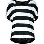 Ella Moss Silk/Mesh Knit Striped Top