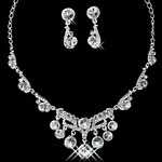 LightInTheBox Charming Alloy Silver Plated With Clear Rhinestone Wedding Bridal Necklace Earrings Jewelry Set