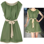 Lesara Kleid mit Schleife - Grün - L