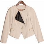 Glam Dámská semišová bunda se zlatými aplikacemi - smetanová - S