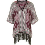 Topshop Patterned Hooded Fringe Cardigan
