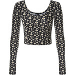 "Tally Weijl Black ""Daisy"" Print Crop Top"