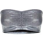 Tally Weijl Grey Metallic Crop Bandeau Top
