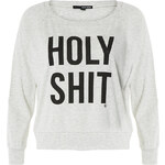 "Tally Weijl Grey ""Holy Shit"" Print Sweater"