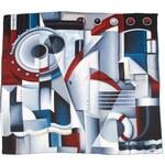 A Piece of Chic Hedvábný šátek s industriálními motivy v modré, šedé a červené barvě