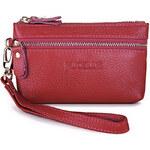 Kožená malá dámská peněženka na mince Nucelle červená
