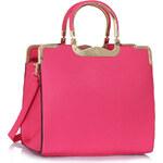 LS fashion LS dámská kabelka se zlatými úchyty 260A růžová