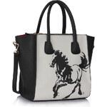 LS fashion LS dámská trojzipová kabelka 61A černo-bílá s koněm
