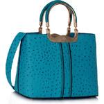 LS fashion LS dámská kabelka 304 strukturovaná tyrkysová