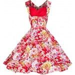Lindy Bop retro dámské šaty Ophelia Red (červené) Floral velikosti: 36 (UK8)