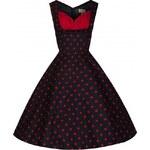 Lindy Bop retro dámské šaty Ophelia černé s červeným puntíkem velikosti: 36