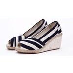 Evercreatures plátěné dámské boty espadrilky na klínku tmavě modré Velikost: EUR 41