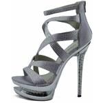 LS fashion LS dámské lodičky na dvojité platformě 00128 stříbrné Velikost: EUR 36