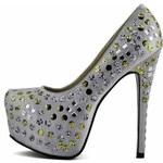 LS fashion LS dámské lodičky na platformně 00119 stříbrné Velikost: EUR 36