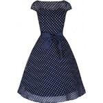 LINDY BOP RETRO DÁMSKÉ ŠATY DELPHINE tmavě modré s bílým puntíkem velikosti: 36