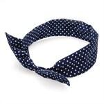 Látková čelenka do vlasů modrá, puntík 29163