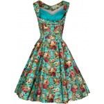Lindy Bop retro dámské šaty Ophelia TURQ FLORAL velikosti: 44 (UK16)