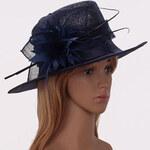 LS fashion H00198 FASCINÁTOR KLOBOUK S KVĚTY tmavě modrý