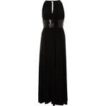 Černé dlouhé šaty s flitrovým pasem LA FEMME