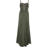 Zelené saténové dlouhé šaty LA FEMME