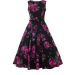 Lady Vintage RETRO DÁMSKÉ ŠATY Violet & Green Rose Velikost: 38(UK10)