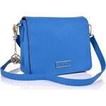 DKNY Donna Karan Modrá kožená DKNY crossbody kabelka saffiano s překlápkou