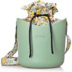 O bag O Basket mentolová se sadou květy šedá