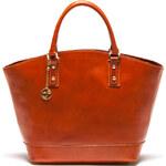 Carla Ferreri Elegantní kožená business kabelka 351 Cognac