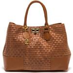 Carla Ferreri Elegantní kožená business kabelka 865 Cognac