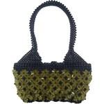 No Name Dámská kabelka ruční výroba #07 černá se žlutými květy