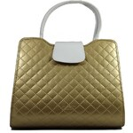 Grosso Luxusní zlatá prošívaná kabelka do ruky S130