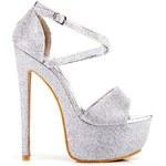 KOI Stříbrné luxusní sandály na platformě 40