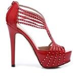 BELLE WOMEN Sexy červené kožené sandály 41