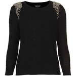 Topshop Knitted Crystal Shoulder Sweat