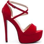 KOI Červené luxusní sandály na platformě 39