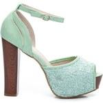 IDEAL Módní zelené krajkové sandály 41