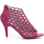 POTI PATI Ažurové růžové semišové sandály 39