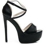 KOI Černé luxusní sandály na platformě 39