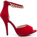 KOI Červené semišové sandály s řetízkem 39