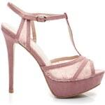 FOREVER FOLIE Růžové semišové sandály s krajkou 38