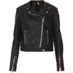 Topshop Collarless Leather Biker